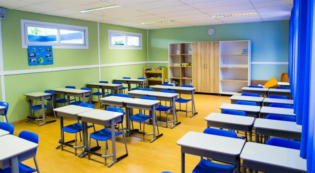 Sala de aula em escola modular